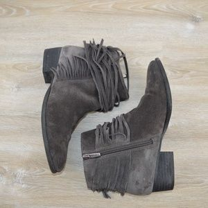 Vince Camuto  gray suede ankle boots with fringe